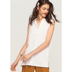 Bluzy rozpinane damskie: Bluza bez rękawów - Biały