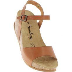 Rzymianki damskie: Skórzane sandały w kolorze jasnobrązowym