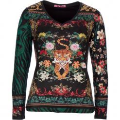 Koszulka w kolorze czarnym ze wzorem. Czarne bluzki damskie marki 101 idées, m, z weluru, z długim rękawem. W wyprzedaży za 45,95 zł.