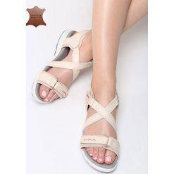 Beżowe Skórzane Sandały Rainforest. Brązowe sandały damskie marki Born2be, z materiału, na obcasie. Za 99,99 zł.