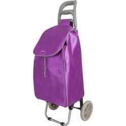 """Wózek zakupowy """"Aster"""" w kolorze fioletowym - 45 l. Fioletowe shopper bag damskie Metaltex, z tkaniny. W wyprzedaży za 99,95 zł."""