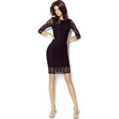 Czarna Sukienka z Szyfonową Wstawką na Rękawach. Czarne sukienki marki Molly.pl, na imprezę, l, w koronkowe wzory, z koronki, eleganckie, z dekoltem na plecach, dopasowane. Za 229,90 zł.