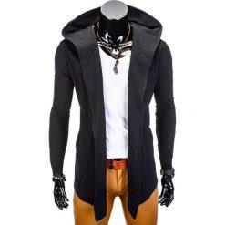 BLUZA MĘSKA Z KAPTUREM NARZUTKA B702 - CZARNA. Czarne bejsbolówki męskie Ombre Clothing, m, z bawełny, z kapturem. Za 75,00 zł.