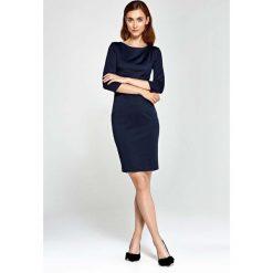 Sukienki: Granatowa Sukienka Ołówkowa z Asymetrycznym Drapowaniem