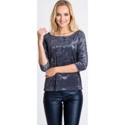 Bluzki damskie: Welurowa bluzka z geometrycznym printem QUIOSQUE