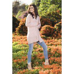 Kardigany damskie: Moherowy oryginalny kardigan pudrowy róż