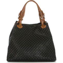 Torebki klasyczne damskie: Skórzana torebka w kolorze czarnym – 35 x 17 x 28 cm