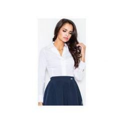 Koszula M021 Biały. Białe koszule wiązane damskie FIGL, m, z bawełny, klasyczne, z klasycznym kołnierzykiem, z długim rękawem. Za 73,00 zł.