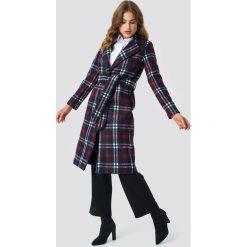 NA-KD Classic Długi płaszcz w kratę - Multicolor,Navy. Niebieskie płaszcze damskie pastelowe NA-KD Classic, w paski. Za 283,95 zł.