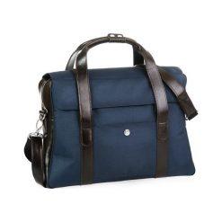 Stylowa torba męska na ramię granatowa. Niebieskie torby na ramię męskie Brødrene, ze skóry. Za 350,00 zł.