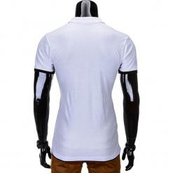 KOSZULKA MĘSKA POLO BEZ NADRUKU S758 - BIAŁA/CZARNA. Białe koszulki polo Ombre Clothing, l, z nadrukiem. Za 39,00 zł.