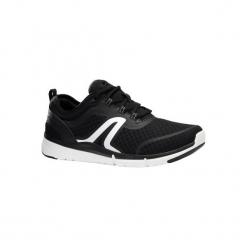 Buty damskie do szybkiego marszu Soft 540 siateczka czarna/biała. Czarne buty do fitnessu damskie marki NEWFEEL, z gumy. Za 129,99 zł.