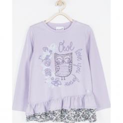 Koszulka. Fioletowe bluzki dziewczęce bawełniane marki bonprix, z nadrukiem. Za 59,90 zł.