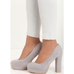 Szare Czółenka Birdly. Szare buty ślubne damskie Born2be, ze skóry, z okrągłym noskiem, na wysokim obcasie, na platformie. Za 89,99 zł.