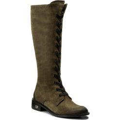 Kozaki CARINII - B4285  I43-E50-POL-C58. Zielone buty zimowe damskie Carinii, z nubiku. W wyprzedaży za 309,00 zł.