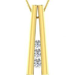 Naszyjniki damskie: Pozłacany naszyjnik z diamentami – dł. 40 cm