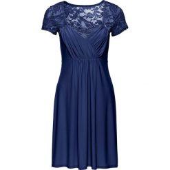 Sukienka z dżerseju z koronką bonprix ciemnoniebieski. Niebieskie sukienki koronkowe marki bonprix, w koronkowe wzory. Za 99,99 zł.