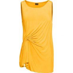 Bluzki, topy, tuniki: Top shirtowy z marszczeniem bonprix złocisto-żółty