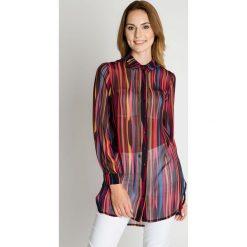 Luźna koszula z kołnierzykiem BIALCON. Szare koszule wiązane damskie BIALCON, wizytowe. W wyprzedaży za 100,00 zł.