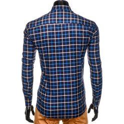 KOSZULA MĘSKA W KRATĘ Z DŁUGIM RĘKAWEM K399 - GRANATOWA/NIEBIESKA. Czarne koszule męskie na spinki marki Ombre Clothing, m, z bawełny, z kapturem. Za 49,00 zł.