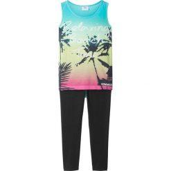 Bluzki dziewczęce na lato: Top (z fotodrukiem) + legginsy 3/4 bonprix morsko-czarny
