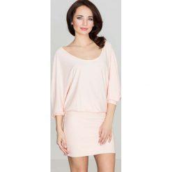 Różowa Casualowa Zbluzowana Sukienka Mini z Długim Rękawem. Różowe sukienki mini marki numoco, l, z dekoltem w łódkę, oversize. Za 125,90 zł.