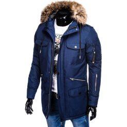 KURTKA MĘSKA ZIMOWA C382 - GRANATOWA. Niebieskie kurtki męskie bomber Ombre Clothing, na zimę, m. Za 189,00 zł.