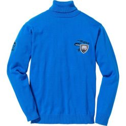 Sweter z golfem Regular Fit bonprix lazurowy. Niebieskie golfy męskie marki bonprix, l, z haftami. Za 74,99 zł.