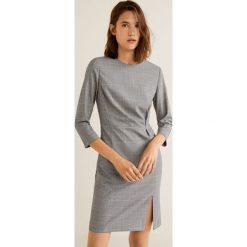 Mango - Sukienka Cuad. Szare sukienki mini marki Mango, na co dzień, l, z tkaniny, casualowe, z dekoltem halter, na ramiączkach, rozkloszowane. Za 199,90 zł.