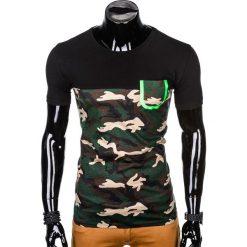 T-SHIRT MĘSKI Z NADRUKIEM S1007 - BRĄZOWY/MORO. Brązowe t-shirty męskie z nadrukiem Ombre Clothing, m. Za 35,00 zł.