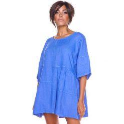 """Bluzki asymetryczne: Lniana koszulka """"Stella"""" w kolorze niebieskim"""