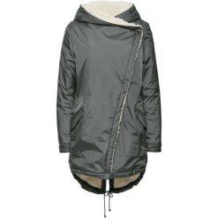 Płaszcz bonprix ciemnoszary. Zielone płaszcze damskie marki bonprix, w kropki, z kopertowym dekoltem, kopertowe. Za 229,99 zł.