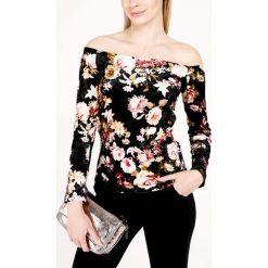 Bluzka - 46-1248 NERO. Czarne bluzki asymetryczne Unisono, l, w kwiaty, z elastanu. Za 19,00 zł.