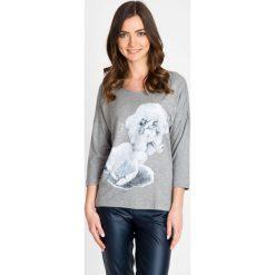 Bluzki damskie: Szara bluzka z kwiatowym wzorem QUIOSQUE