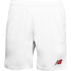 Spodenki treningowe EMS6128WRD. Szare spodenki sportowe męskie marki New Balance, m, z materiału, do piłki nożnej. W wyprzedaży za 99,99 zł.
