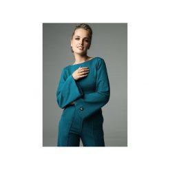 BLUZKA SLENDER - CIEMNY TURKUS. Zielone bluzki z odkrytymi ramionami marki Madnezz, s, z bawełny, biznesowe, z dekoltem na plecach. Za 179,00 zł.