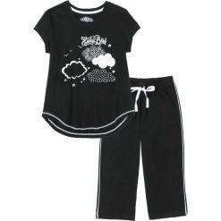 Piżama ze spodniami 3/4 bonprix czarno-biały. Czarne piżamy damskie bonprix, z nadrukiem, z bawełny. Za 54,99 zł.