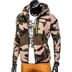 BLUZA MĘSKA ROZPINANA Z KAPTUREM B733 - ZIELONA/MORO. Zielone bluzy męskie rozpinane marki Ombre Clothing, m, moro, z bawełny, z kapturem. Za 49,00 zł.