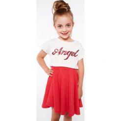 Komplet dziewczęcy z sukienką kremowo-koralowy NDZ8621. Szare sukienki dziewczęce marki Fasardi. Za 59,00 zł.