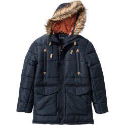 Kurtka parka zimowa Regular Fit bonprix niebieski. Zielone kurtki męskie zimowe marki bonprix, w kropki, z kopertowym dekoltem, kopertowe. Za 239,99 zł.
