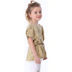 Bluzki dziewczęce: Bluzka dziewczęca z wiązaniem beżowo-żółta NDZ8200