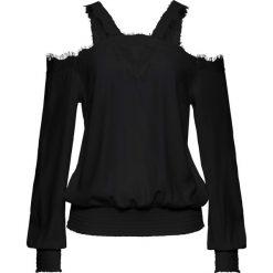 Bluzki asymetryczne: Bluzka z koronką i wycięciami bonprix czarny