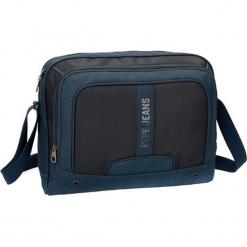 Torba w kolorze niebieskim na laptopa - (S)39 x (W)31 x (G)11 cm. Niebieskie torby na laptopa Pepe Jeans, w paski, z materiału. W wyprzedaży za 109,95 zł.