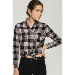 Bawełniana koszula w kratkę - Czarny. Czarne koszule damskie w kratkę marki Sinsay, l, z bawełny. Za 49,99 zł.