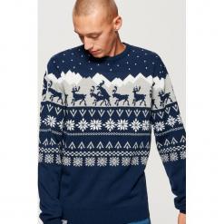 Sweter z motywem zimowym - Granatowy. Niebieskie swetry klasyczne męskie marki QUECHUA, m, z elastanu. Za 99,99 zł.