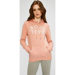 Roxy - Bluza. Szare bluzy rozpinane damskie Roxy, l, z nadrukiem, z bawełny, z kapturem. W wyprzedaży za 129,90 zł.