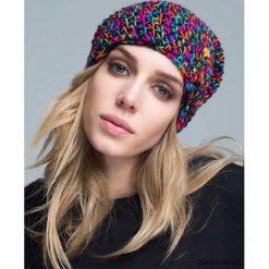 Czapka dziana KRAFF PINK BLACK handmade. Czarne czapki zimowe damskie Pakamera, z dzianiny, klasyczne. Za 99,00 zł.
