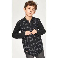 Bluzy chłopięce rozpinane: Koszula z elementami bejsbolowej bluzy - Czarny