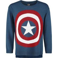 Captain America Intarsia Bluza damska wielokolorowy. Szare bluzy rozpinane damskie Captain America, xl, z motywem z bajki, z dzianiny, z krótkim rękawem, krótkie. Za 79,90 zł.