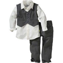 Koszula + kamizelka + spodnie (3 części) bonprix antracytowo-biały. Szare bluzki dziewczęce w paski marki bonprix, m. Za 79,99 zł.